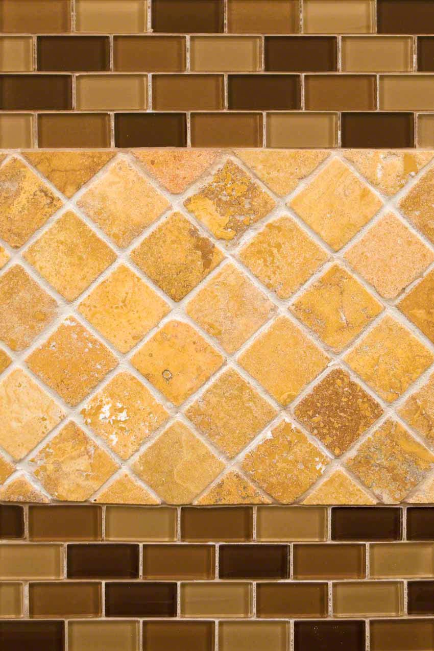 Tuscany Gold Travertine And Brown Blend Glass
